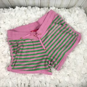 Pink and green terry cloth shorts. Size small